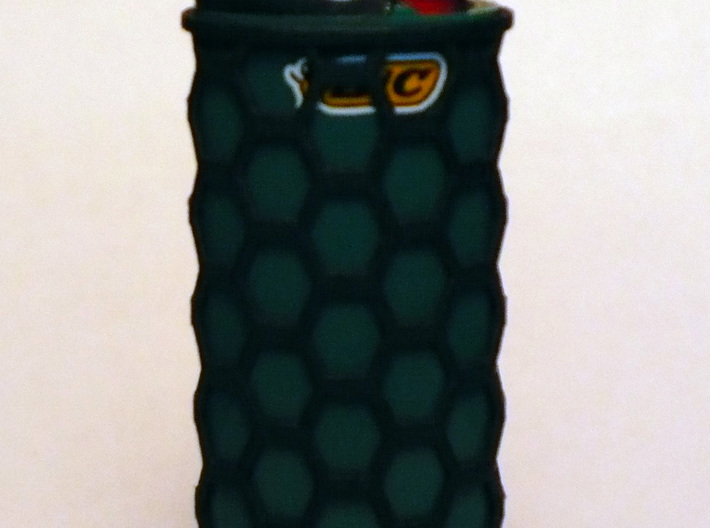 Honey Comb Lighter Case 3d printed Green Bic