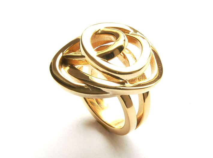 Ring Love is in the Air Medium (from $16) 3d printed Gold Ring Elegant Beaty