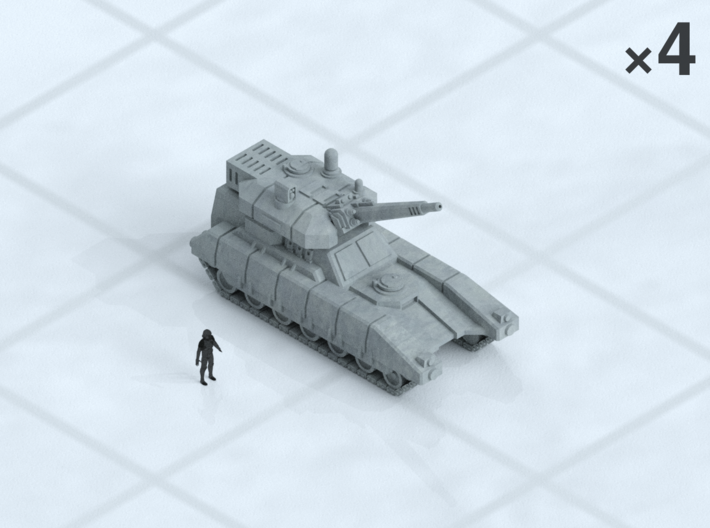 """6mm Mobile Artillery (4) 3d printed Shown on 1"""" grid with 6mm figure (not included) for scale."""