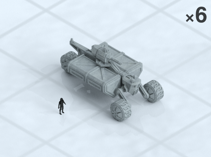 "6mm Armed Wheeled Transport (8) 3d printed Shown on 1"" grid with 6mm figure (not included) for scale."