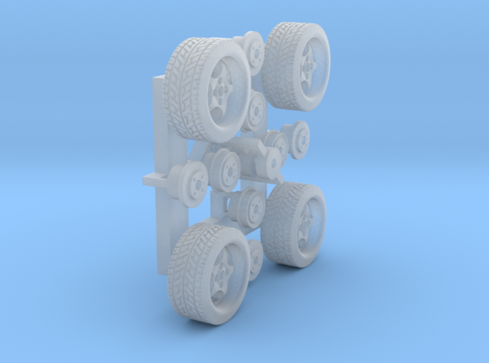 Felgen Borbet T 8x14 mit Reifen 195/45R14 (1:87) 3d printed Frosted Extreme Detail