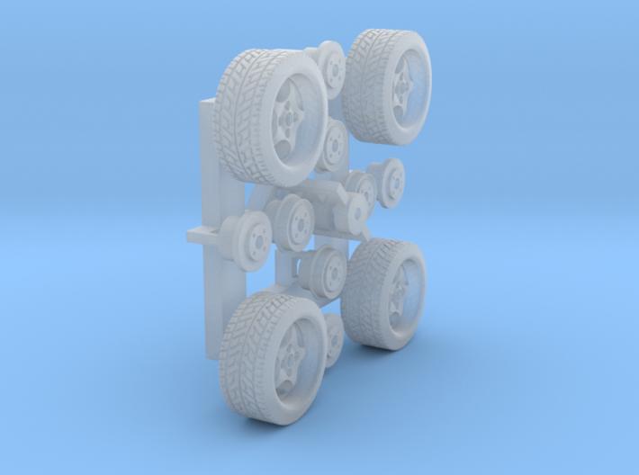 Felgen Borbet T 8x14 mit Reifen 195/45R14 (1:87) 3d printed Frosted Extreme Detail