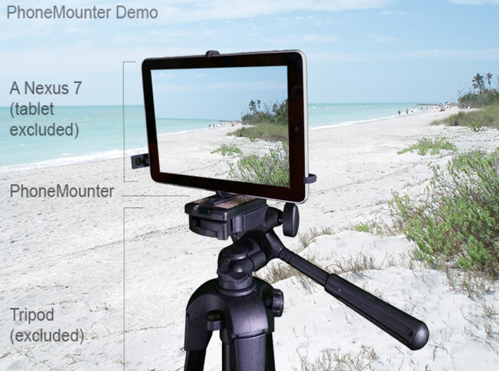 Samsung Galaxy Tab A 7.0 (2016) tripod mount 3d printed A demo Asus Google Nexus 7 mounted on a tripod with PhoneMounter
