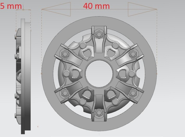 Disk-wheel-5mm-40mm 3d printed