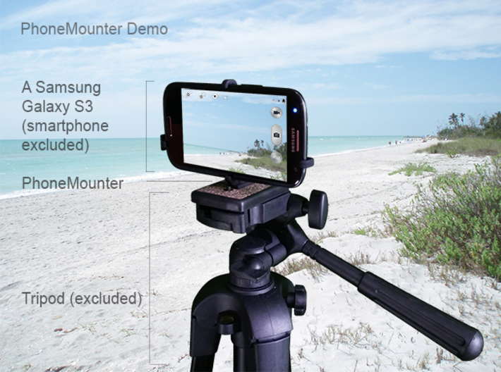 HTC Zeta tripod & stabilizer mount 3d printed A demo Samsung Galaxy S3 mounted on a tripod with PhoneMounter