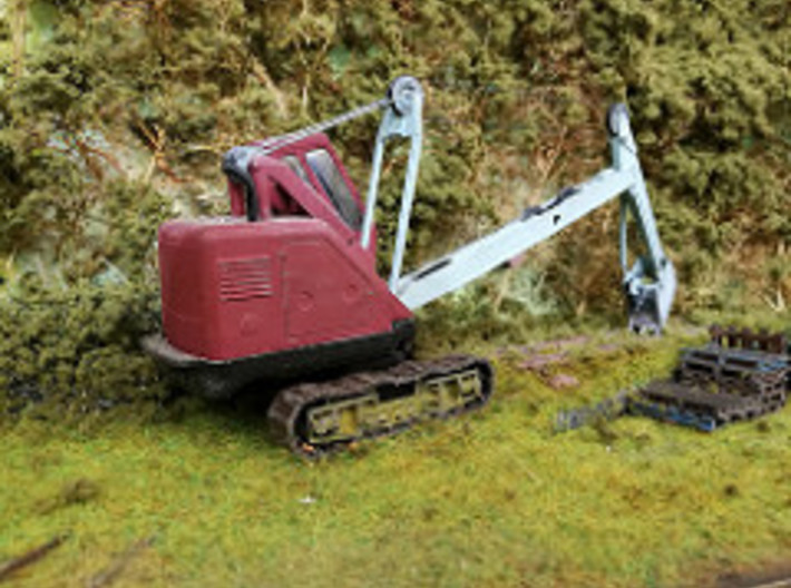 7mm scale Priestman Cub crawler track 3d printed The track print in use on my model, converted from the corgi toy face shovel.
