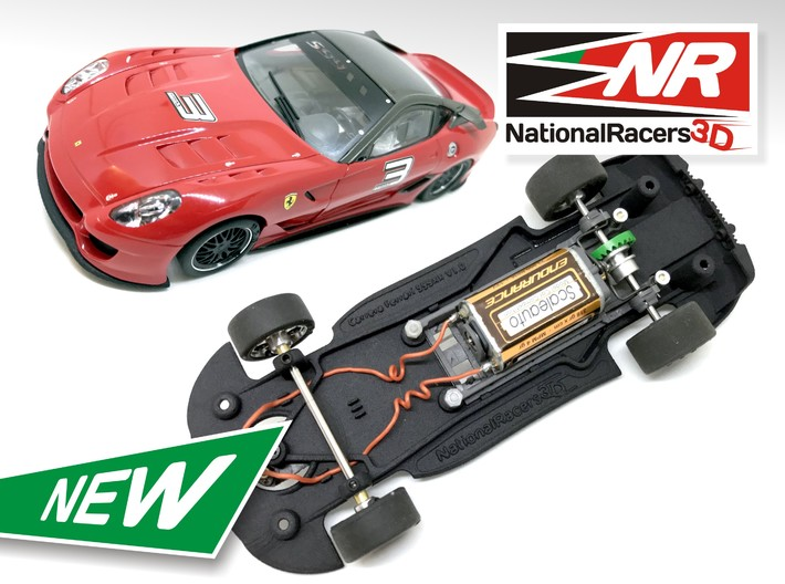 3D Chassis - Carrera Ferrari 599XX (Combo) 3d printed Chassis compatible with Carrera model (slot car and other parts not included)
