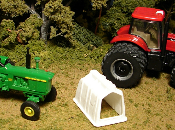 "1/64th ""S"" Scale Calf Hutch 3d printed Tractors are for size reference only."