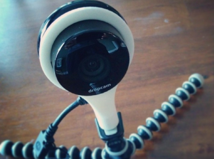 Dropcam Mount 3d printed Dropcam mounted and on a Gorillapod.