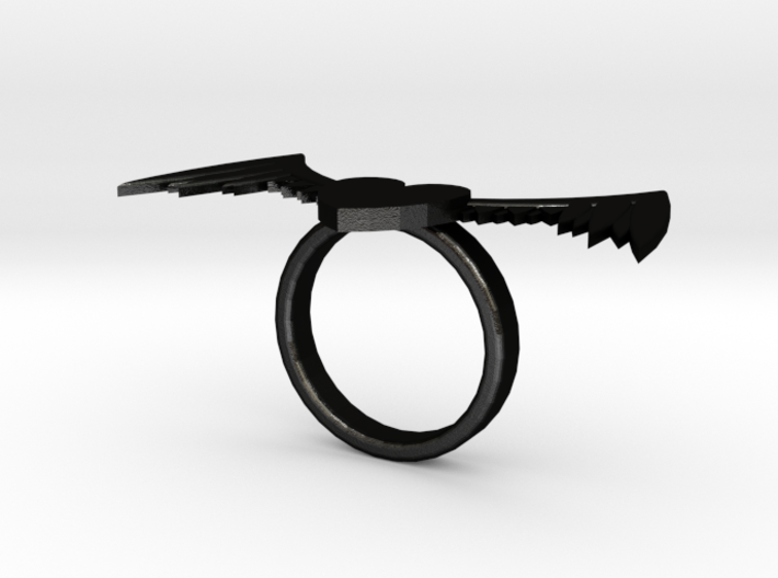 Winged Heart Ring 3d printed
