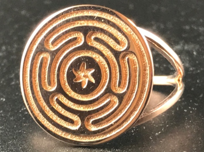 Wheel of Hecate ring 3d printed Hecate's Wheel in Rose Gold Plated