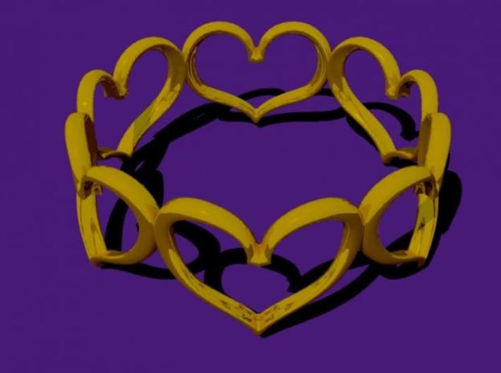 Hearts Bracelet 3inch 3d printed These hearts are welded together in an unbroken loop.