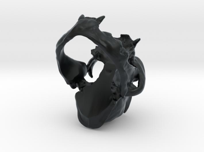 Horned Bobcat Ring 3d printed