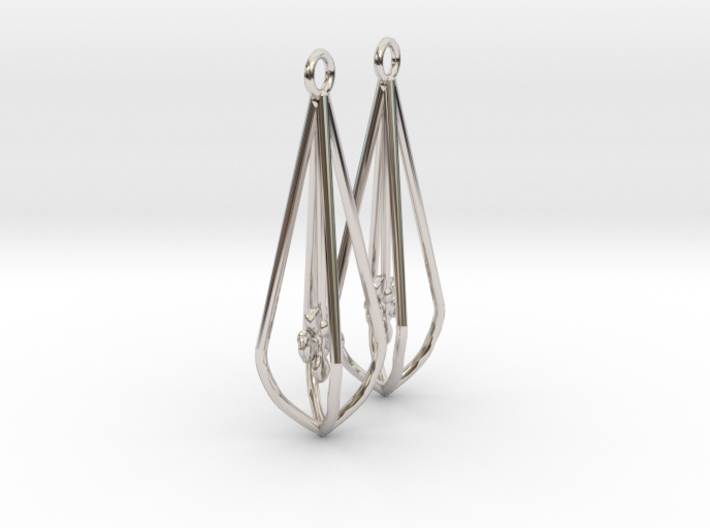 Elegant Bridal Flower Earrings 3d printed