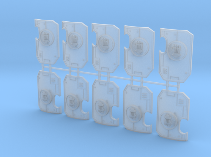 10x Clenched Fist- Marine Boarding Shields w/Hand 3d printed
