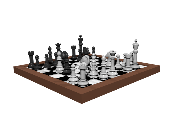 1/18 Scale Chess Board Mid-game (v01) 3d printed