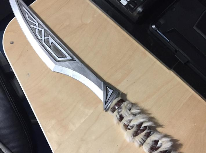 Skyrim Nordic Carved Dagger 3d printed early prototype (painted and fured up)