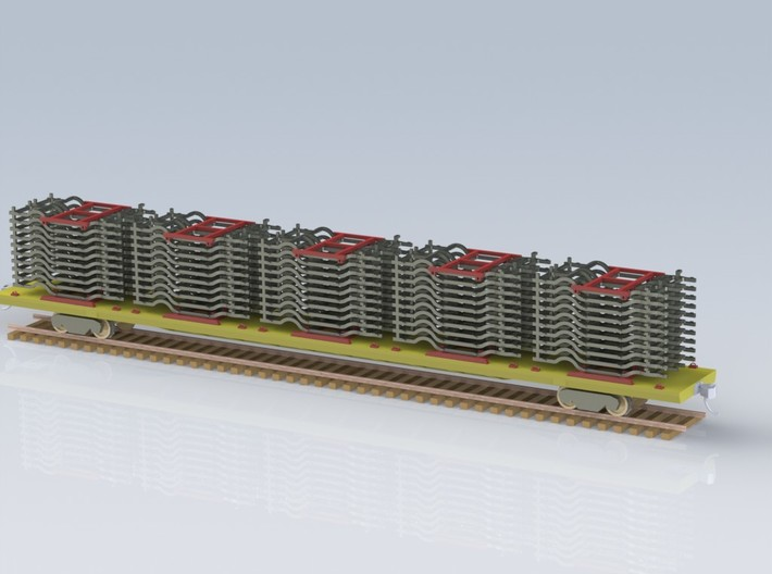 HO 1/87 Auto Chassis stack for Flatcar or Autorack 3d printed CAD render with fully loaded 89' flatcar.