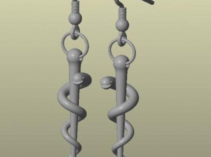 Rod of Asclepius earrings 3d printed