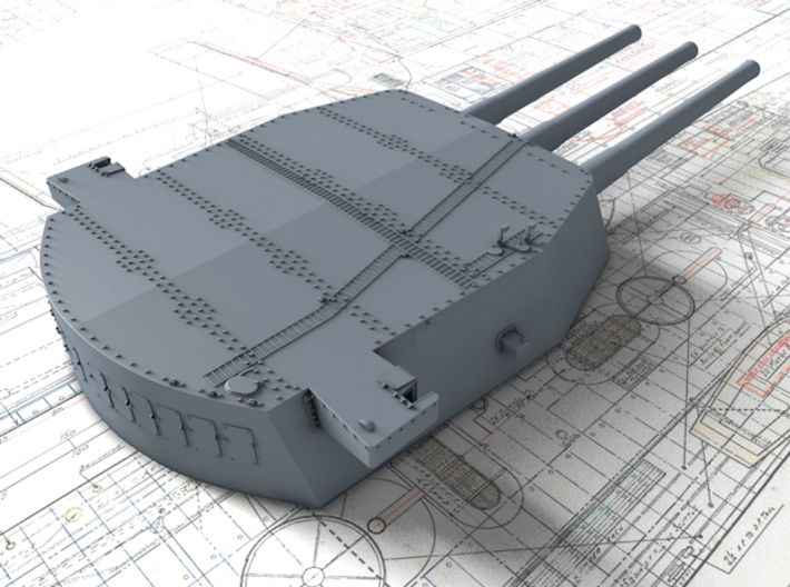 """1/350 HMS Nelson 16""""/45 (40.6 cm) Mark I Guns 1927 3d printed 3d render showing A,B and X Turret detail"""