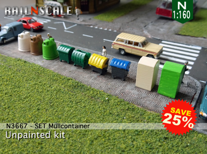 SET Müllcontainer (N 1:160) 3d printed