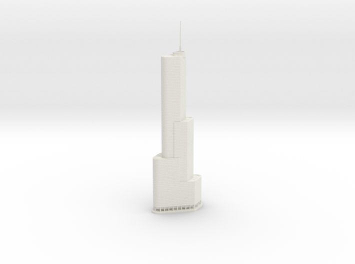 Trump International Hotel & Tower (1:2000) 3d printed Assembled model.