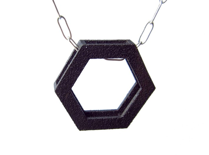Simple Hexagon Pendant 3d printed The chain is slightly hidden by the hexagon frame.