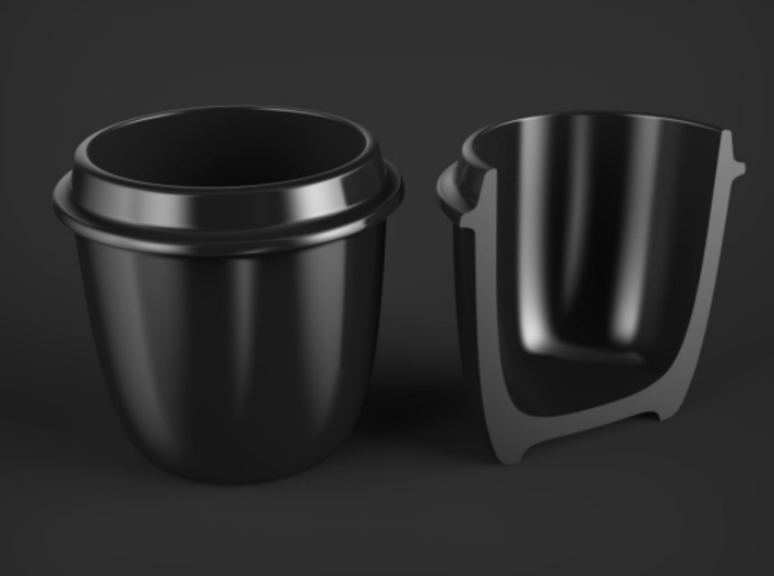 Coffee / Tea cup -- Dol Sot / Dduk bae gi style 3d printed Rendering showing wall thickness