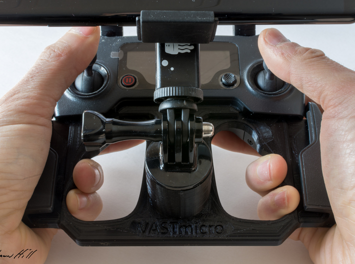 DJI Controller Phone / Tablet Mount Plate Insert 3d printed Inserted into Mavic Pro controller with GoPro tripod mount and Samsung Note 8 attached.