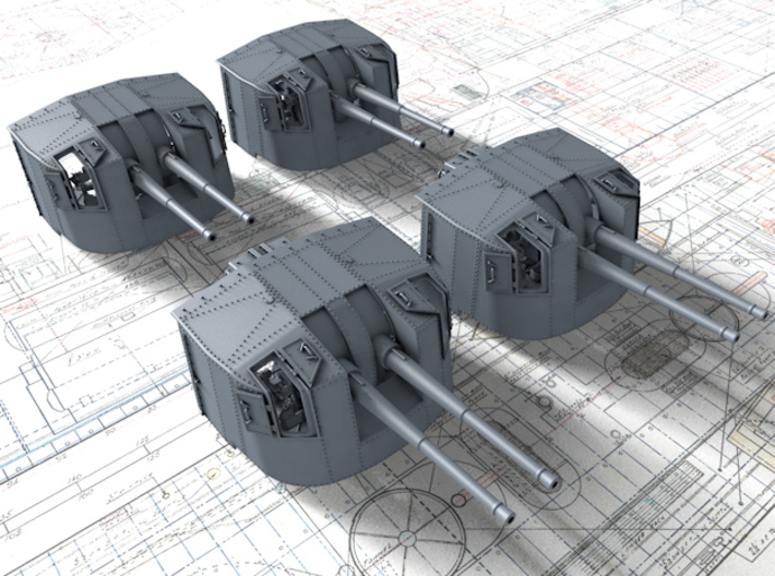 """1/144 Tribal Class 4.7"""" MKXII CPXIX Twin Mount x4 3d printed 1/144 Tribal Class 4.7"""" MKXII CPXIX Twin Mount x4"""