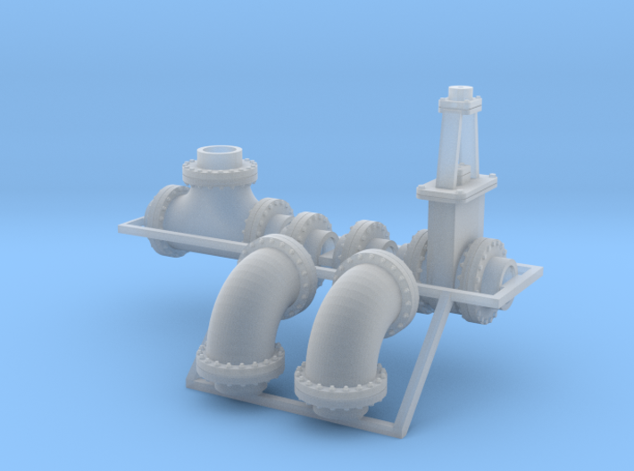 "1:87 - 24"" flanged pipe fittings, gate valve 2ea 3d printed"