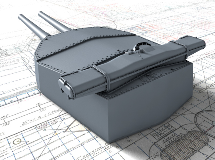 "1/400 HMS Hood 15"" (38.1 cm) Mark II Turrets 1941 3d printed 3d render showing Y Turret detail"