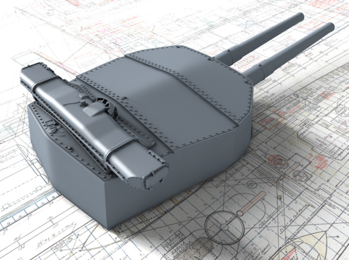 "1/200 HMS Hood 15"" (38.1 cm) Mark II Turrets 1941 3d printed 3d render showing A Turret detail"