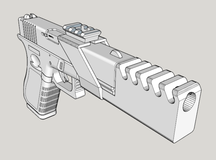 Airsoft Compensator with Top Rail for G17 and G18C