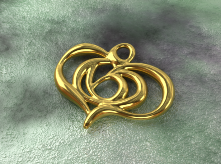 Floating heart 3d printed gold material