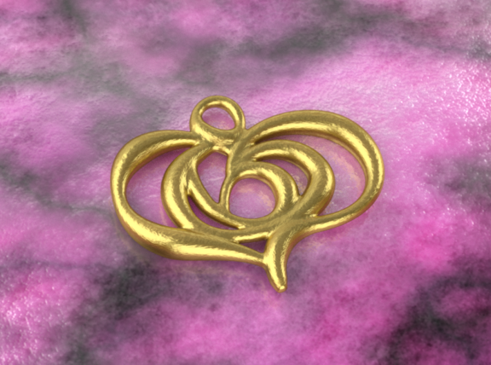 Floating heart 3d printed brass material