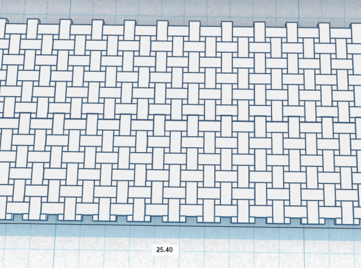 1/61 Basket weave tile 3d printed Zoom in of the 3d Model to show 1inch/25.4mm