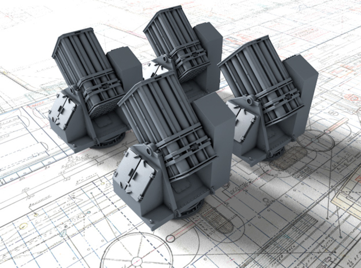 """1/350 Royal Navy 7"""" UP Launchers x4 3d printed 1/350 Royal Navy 7"""" UP Launchers x4"""