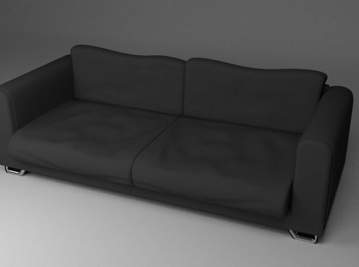 Black Fabric Sofa / Couch 3d printed Rendered Image of Model with Fabric Materials