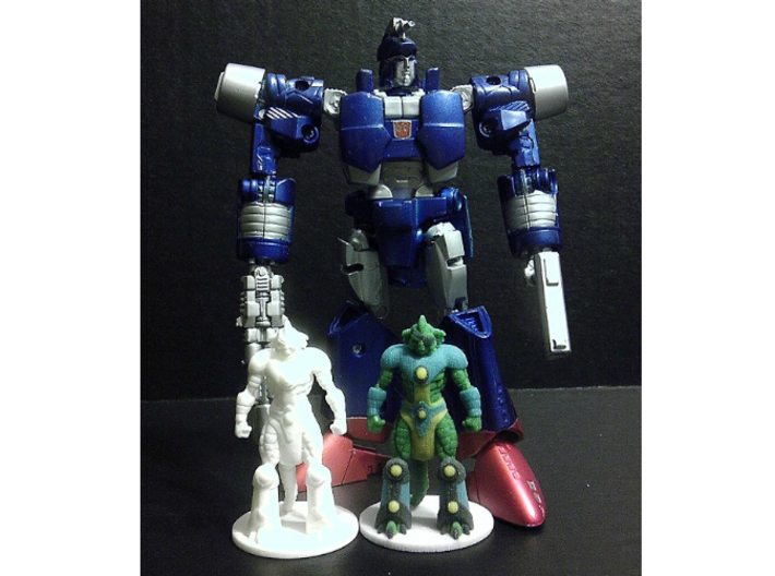 Slizardo homage Komodo 2.25inch Transformers Mini  3d printed Size Comparison of 2.25 inch Slizardo printed in Full Color Sandstone and White Strong Flexible Polished with Generations Deluxe Class Scourge. Scourge figure sold separately.