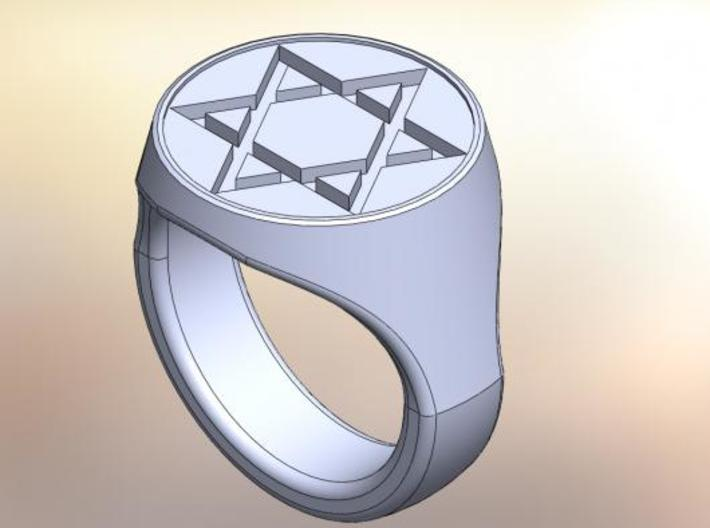 Star of David Signet Ring  3d printed CAD rendering of the ring