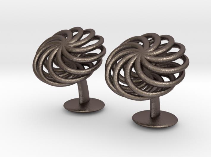 SpiralCufflinks2 3d printed