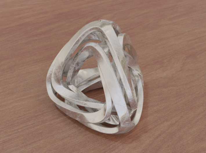 Twisted Tetrahedron 3d printed Stainless Steel (render)