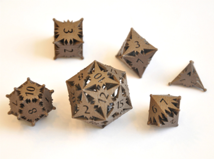 Starlight Dice Set - Balanced 3d printed Matte Bronze Steel - No longer available