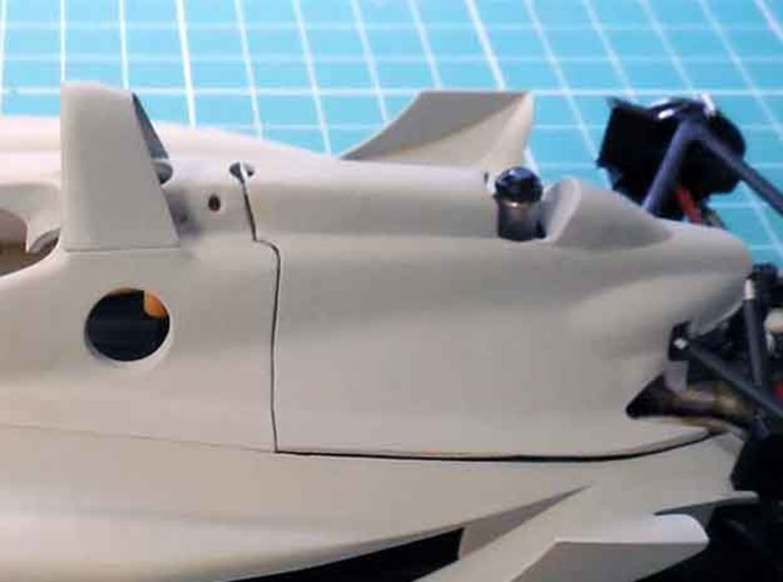 """Engine cover """"spine"""" for the Dick Simon Lola 1/20  3d printed Part filled, sanded and primed"""