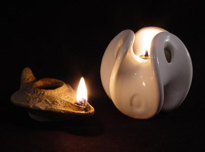 Enneper Oil Lamp 3d printed 2000 years apart