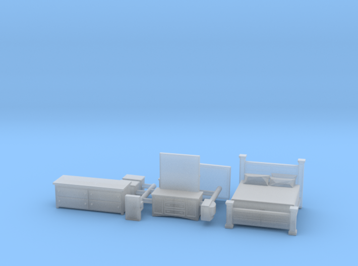 Bedroom Set with King Bed TT Scale 3d printed