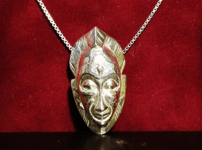 African Mask Necklace 3d printed Polished Silver - Small