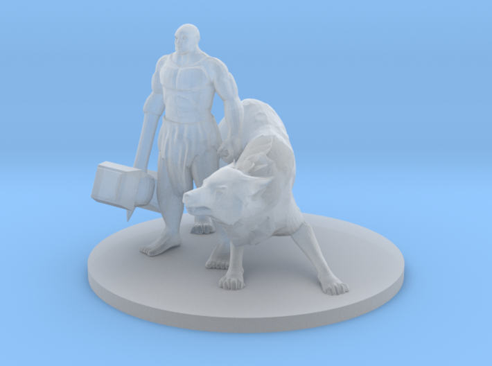 Mountain Hammer Fist Barbarian and Wolf Companion. 3d printed