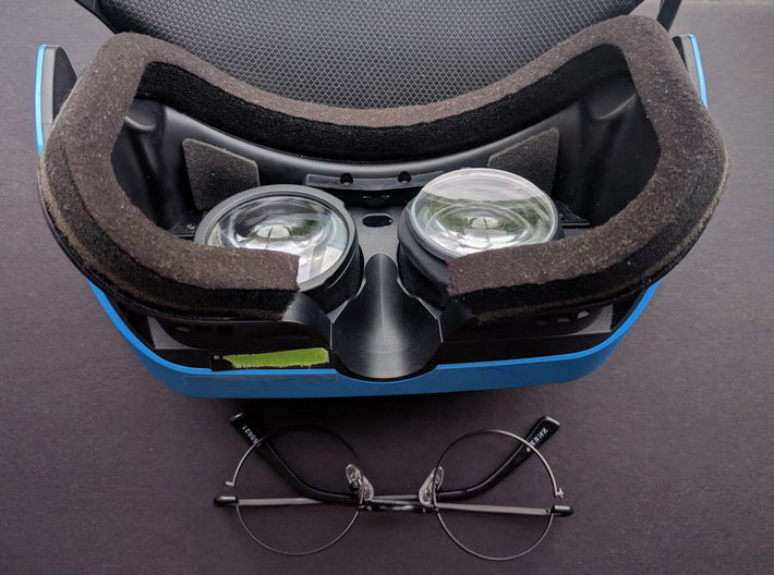 Prescription Lens Adapter - Windows Mixed Reality 3d printed Right one mounted in VR headset